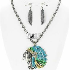 New Western Cowgirl Indian Chief Head Bling Women's Necklace Earring Set B2 | eBay