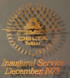 Delta Air Lines Delta TriStar Inaugural Service 1973 Glass Oval Plate