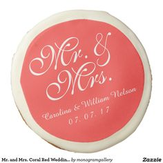 Mr. and Mrs. Coral Red Wedding Cookies