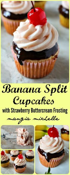 Banana split cupcakes are a delicious treat to make for a birthday party or any special occasion ~ www.mangiamichelle.com