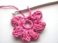 Cute little crochet flower ♥ tutorial Crochet Amigurumi, Knit Or Crochet, Crochet Motif, Crochet Crafts, Yarn Crafts, Crochet Stitches, Crochet Projects, Simple Crochet, Crochet Flower Patterns