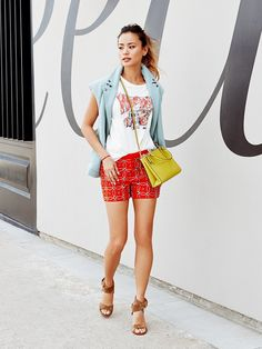 Credits: Tibi Boucle With Felted Wool Combo Oversized Vest ($495, 212.226.5852); Levi's Rick Griffin Classic Surf Tee ($44); AnhHa Women's Embellished Mini Shorts ($291) in Orange;...