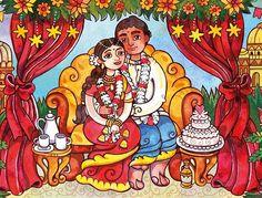 illustrator Samarskaya Milana #illustration #watercolor #card #wedding #india  #love