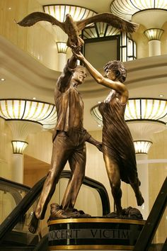 """Innocent Victims"" ~ A bronze statue in memory of Dodi AlFayed and Diana, Princess of Wales"