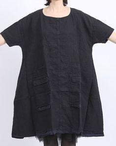 rundholz dip - Kleid Leinen mit Taschen Oversize dark navy - Sommer 2016 - stilecht - mode für frauen mit format...
