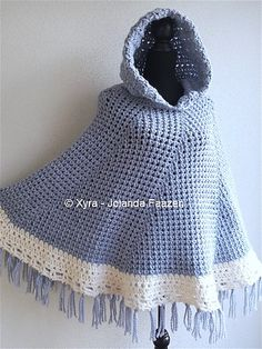Round poncho cape with hood crochet pattern.  I love this...