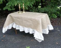 Ruffled Burlap Tablecloth Custom Sizes Ruffled Tablecloth Burlap Throw Blanket Wedding Décor Table Settings French Country Prairie Cottage
