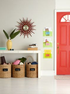 Keeping belongings organized in shared spaces...Set up individual baskets for everyone in the family.