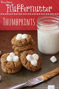 Flourless Fluffernutter Thumbprint Cookies | cupcakesandkalechips.com | #peanutbutter #marshmallows #glutenfree