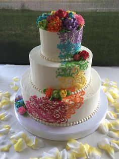Classic Rainbow Scrolling Buttercream Cake With Flowers