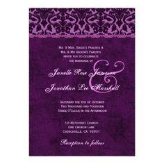 #Plum #Eggplant #Purple #Vintage #Damask #Wedding http://www.zazzle.com/plum_eggplant_purple_vintage_damask_wedding_v01_invitation-161402002473868933