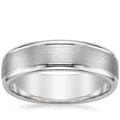 18K White Gold Beveled Edge Matte Wedding Ring with Grooves from Brilliant Earth - FOR THE GROOM - great looking ring.