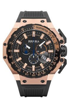 Free shipping and returns on Brera 'Gran Turismo' Chronograph Silicone Strap Watch, 54mm at Nordstrom.com. A tachymeter bezel, three chronograph eyes and a date window define the high functionality of this rugged sports watch. The large case and flexible silicone strap complete the adventure-ready style.