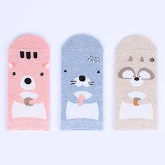 BonoBono Adorable Socks (3-pack) Seaotter Chipmunk Raccoon animal anime  socks