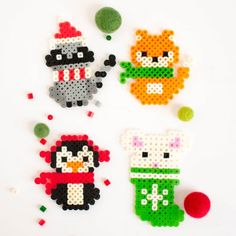 Have fun making these cute Christmas Perler bead patterns with your kids. They're loads of fun and super easy with our printable patterns.