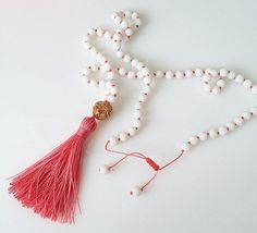 Coral Pink Necklace White Beaded Necklace by lizaslittlethings