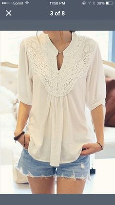 I like the style of this flowy white top: the neckline, and the sweetheart embroidered yoke