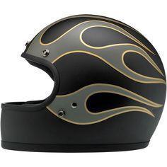Biltwell Inc. / Biltwell Gringo Helmet - Flames Black/Grey