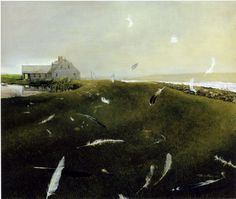 "Andrew Wyeth, ""Airborne"". http://rompedas.blogspot.ch/2011/10/american-realist.html"