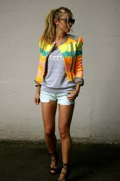 a fashion love affair: Fluro. Need that jacket!!! #calicool #fashion #summer