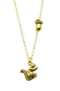 For My Nut! Squirrel & Nut Charm Necklace by LEILA on @HauteLook