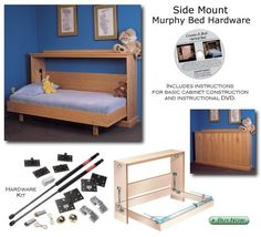 Murphy wall bed plans If you would like to make a bed like this New Easy DIY Horizontal Murphy Wall Bed Hardware Kit Available for Queen Size Mattresses Murphy Bed Hardware, Murphy-bett Ikea, Horizontal Murphy Bed, Diy Bett, Modern Murphy Beds, Murphy Bed Plans, Murphy Bed Kits, Decorate Your Room, Diy Furniture