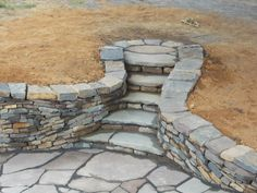 Dry Stone Wall, steps and Patio I by Devine-Escapes on DeviantArt/front of house when dug out Backyard Patio, Backyard Landscaping, Rose Garden Design, Stone Retaining Wall, Retaining Walls, Garden Stairs, Stone Masonry, Sloped Garden, Dry Stone