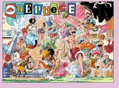 One Piece Color Spread : Chapter 745 (Laundry day on the Sunny! I don't think Robin, Nami, and Sanji are having as much fun as everyone else.)