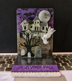 Karen Aicken using the A2 Pop 'n Cuts Base Die and the Wavy Label Insert - Altered Scrapbooking: Spooky Pop 'n Cut Card