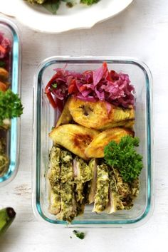 Chimichurri Chicken, Plantain & Red Slaw Meal Prep - AIP , - The Unskilled Cavewoman Mediterranean Chicken Bake, Chimichurri Chicken, Pork Lettuce Wraps, Meal Prep Plans, Spinach Recipes, Meal Prep For The Week, Food Dishes, Food Food, Whole 30 Recipes