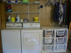 """My new laundry """"room""""!  Made the laundry basket dressers all by myself!"""