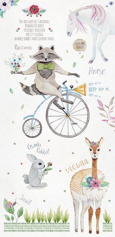 Fairy World. Animals and plants. by OlgaAlekseenko on @creativemarket