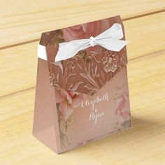 Hand Painted Pink Roses with Faux Gold Filigree Favor Box
