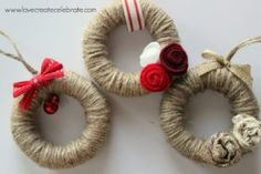 Aren't these the cutest little ornaments you've ever seen! Thank you again, for joining me! This is day two of my eight days of amazing Christmas crafts for my home :) I just LOVE how these mini wreaths turned out. I'm incorporating a lot of red, gold, an Diy Christmas Ornaments, Homemade Christmas, Rustic Christmas, Christmas Projects, Holiday Crafts, Christmas Wreaths, Holiday Tree, Christmas Centerpieces, Burlap Christmas Decorations