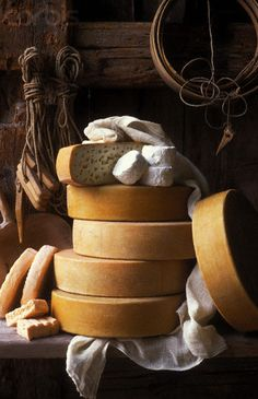 Selection of Cheeses - All Kinds - British, French, German etc.