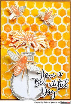 Card by Belinda Spencer using Darkroom Door Honeycomb Background Stamp, Buzzing Bees, Bottles and Fine Flowers Vol 2 Stamp Set Buzz Bee, Mini Mason Jars, Distress Oxide Ink, Flower Stamp, Honeycomb, Bloom, Doors, Pure Products, Background Ideas