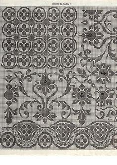 tablecloth crochet filet pattern a Stitch Crochet, Crochet Chart, Thread Crochet, Crochet Doilies, Crochet Tablecloth, Diy Embroidery, Cross Stitch Embroidery, Embroidery Patterns, Crochet Patterns