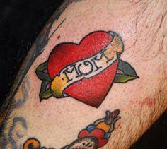 Traditional Love Mom Tattoo on Guys leg by Drew at Empire Tattoo . Dedication Tattoos, Mum Tattoo, Boston Tattoo, Empire Tattoo, Mom Tattoo Designs, Traditional Ink, Big Words, Love Mom, Word Tattoos