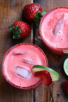 Homemade strawberry margarita made with fresh strawberries, lime juice, sugar or honey, orange liqueur, and tequila.