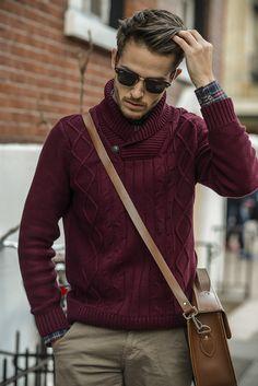 Adam Gallagher looking dapper in our Men's Shawl Collar Sweater