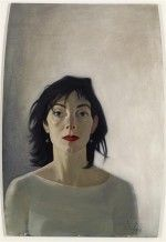 This is a portrait of the artist's wife Jeanine, painted in 2010. It is an unusual shape because it is painted on the back of a mirror. Painted by John Byrne.