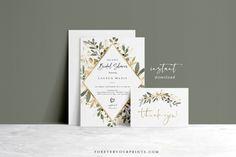 Greenery Bridal Shower Invitation Template Eucalyptus Bridal | Etsy