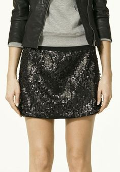 Black Mid Waist Above Knee Straight Paillette Skirt