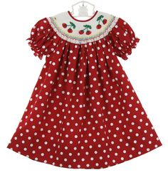 NEW Rosalina Red Polka Dot Bishop Smocked Dress with Embroidered Cherries $60.00