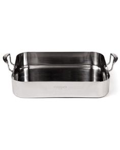 This roasting pan has a thick bottom and sides, which retain heat for even cooking, and wide handles that are easy to hold when you're wearing oven mitts. $99.95. #cooking #tools