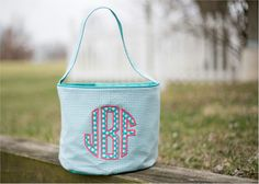 Monogrammable Gingham Easter Basket Tote - AQUA Embroidery Blanks, Embroidery Software, Embroidery Thread, Halloween Buckets, Easter Baskets, Gingham, Lunch Box, Aqua, Make It Yourself