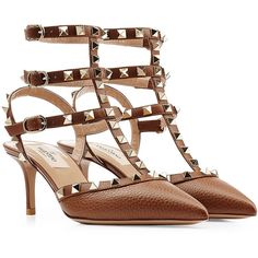 Valentino Rockstud Leather Kitten Heel Pumps ($795) ❤ liked on Polyvore featuring shoes, pumps, heels, brown, kitten heels, women, stiletto pumps, heels stilettos, brown shoes and valentino shoes