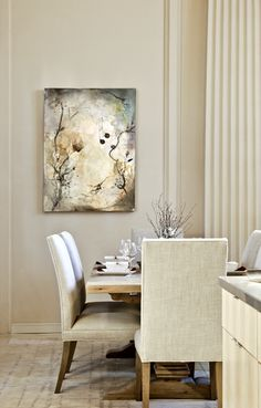 So pretty! #gray #white #walls #dining #room #art #branches #light