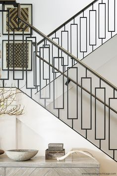 Transitional Interior Design by Leo Designs Chicago | Details | Front Entry | Staircase