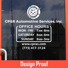 CP&R Automotive Services, INC.  | Stickertitans.com | Custom Business / Office / Shop / Salon / Restaurant Open Hour Vinyl Decal | Our Vinyl Signs are made from Oracal 651